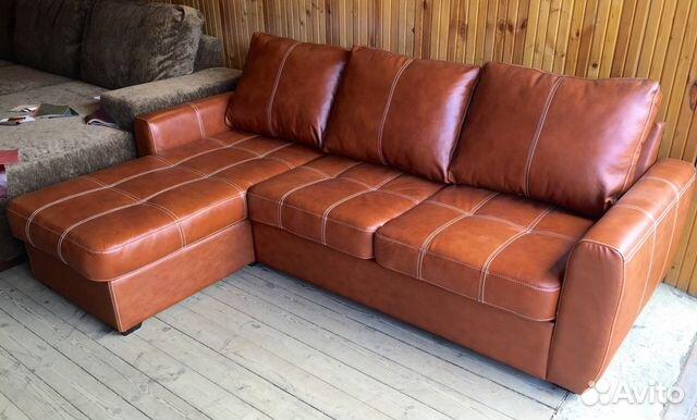 угловой выкатной кожаный диван кровать финляндии Festimaru
