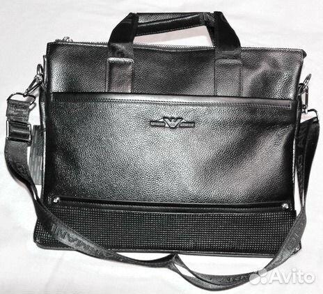 b3d80c32b06c Мужская сумка из натуральной кожи Armani black new купить в Москве ...
