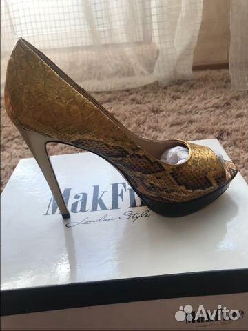 Золотистые туфли на каблуке 89144720601 купить 1