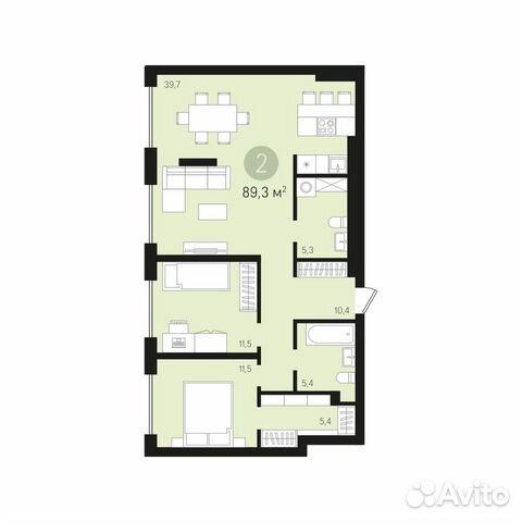 2-к квартира, 89.3 м², 1/16 эт. 83462769413 купить 2