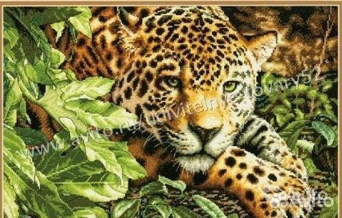84942303606 Алмазная мозаика 40х50 на холсте, Леопард