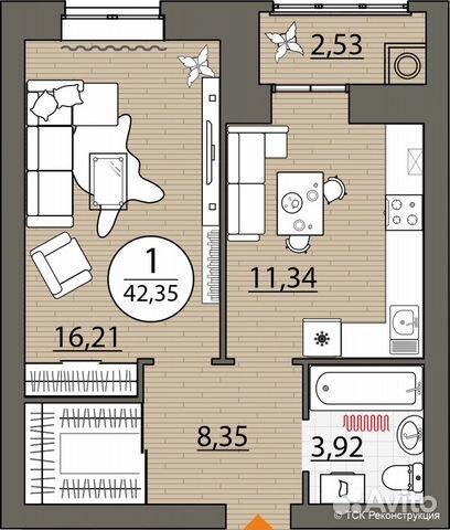 1-к квартира, 42.4 м², 4/10 эт.  84912407413 купить 2