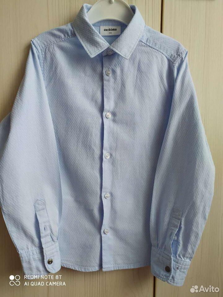 Рубашка голубая на рост 122см  89065035959 купить 1